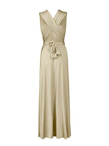 Champagne Donne Clothink Modo Maxi Lungo Partito Delle Convertibile Vestito Involucro Più aqwTBqf0