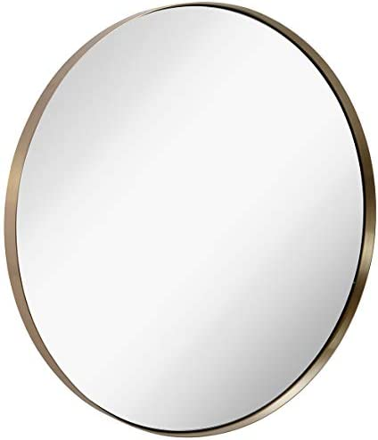 Hamilton Hills Contemporary Brushed Metal Gold Wall Mirror