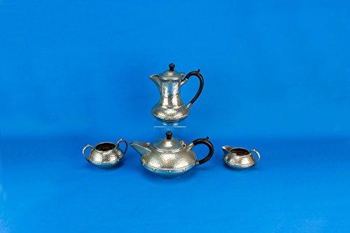 Hammered Pewter Tea Coffee Set Teapot Sugar Bowl Creamer Vintage Arts Crafts Grey Serving Party English 1920s LS