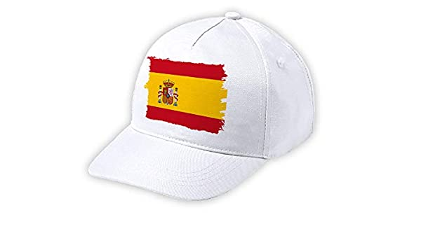 MERCHANDMANIA Gorra NIÑO Bandera ESPAÑA Pais Unido Blanca Kid Cap ...