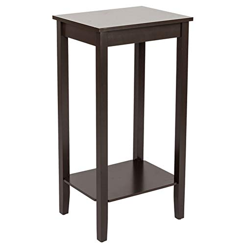 CHOCITY Tall End Table Sofa Side Table 2 Tier Night Stand Coffee Table Plant Stand Accent Furniture for Living Room Bedroom (Coffee)