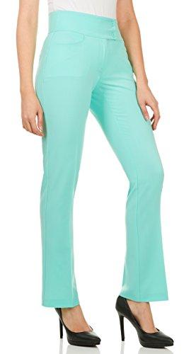 Pants Black Mint In (Velucci Dress Pants for Women - Womens Slight Bootcut Office Wear Ladies Pant Mint-M)
