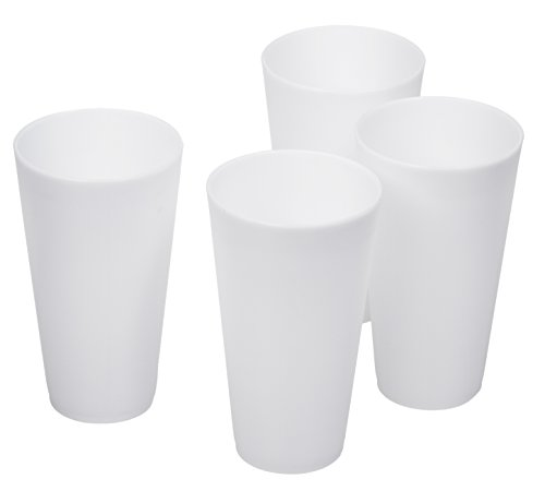 4 Pack of Bright Plastic Cups - 16 Oz Reusable Tumbler Cups - Picnic Party Cups (White)