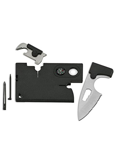 Snowmanna-10 in 1 Multifunction Credit Card Size Wallet Companion Tactical Survival Tool Military Utility Kit with Pocket Knife Bottle opener Compass for Outdoor Hunting (Birthday Presents By Mail)