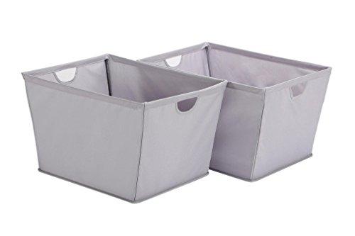 STORAGE MANIAC 2-Pack Large Shelf Basket with Wire Frame, Home Tapered Storage Bins, Gray ()