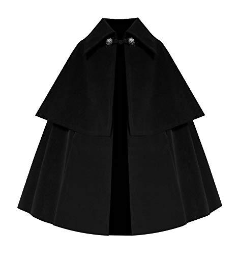 Cykxtees Victorian Historical Steampunk Renaissance Epaulet Gothic Velvet Cape Cloak Black ()
