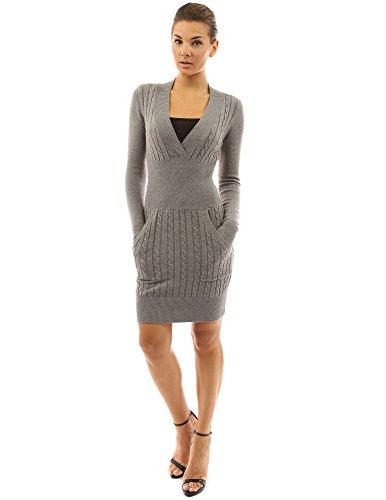 Angora Knit Dress - PattyBoutik Women's Deep V Neck Long Sleeve Sweater Dress (Heather Gray L)