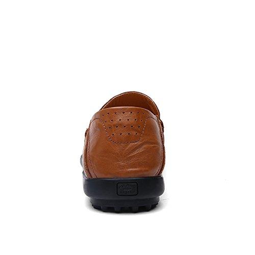 Abby A118 Da Uomo In Pelle Per Il Tempo Libero Accogliente Slip On Driving Sneakers Traspiranti Fori Marrone