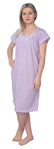 (Women's Floral Print Short Sleeves Ribbon Chest Nightgown JR129 Purple M)