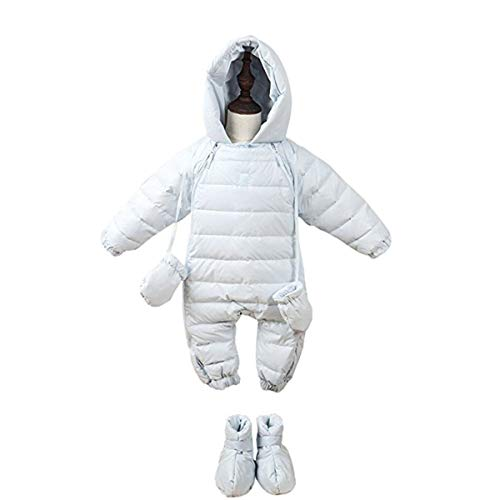 Bebone Newborn Baby Hooded Winter Puffer Snowsuit with Shoes and Gloves (White,9-12M)