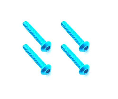 Nara 4 Light - Square R/C RC Model Hop-ups SQ-NAR-318TB Square R/C M3 x 18mm Aluminum Button Head Hex Screws (Light Blue) 4 pcs.
