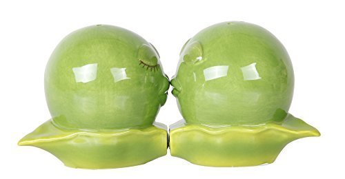 Pacific Giftware Kissing Peas in A Pod Magnetic Salt and Pepper Shakers Gift Box Set Ceramic (A Pepper Salt In Shakers And Pod Peas)