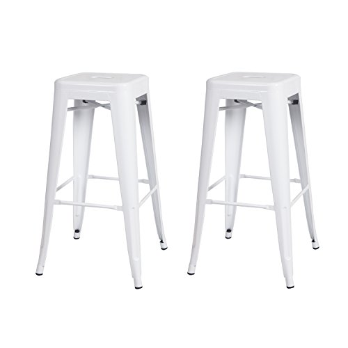 Joveco 30 Inches Sheet Metal Frame Tolix Style Industrial Chic Chair Backless Bar Stool - Set of 2 (White) Wholesale Price Available