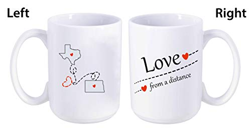 Love From A Distance Texas State, North Dakota State (TX - ND) - Mother's Day, Birthday, Anniversary Gift Ideas For Family, Him, Her. Two State Map Mug 15 oz