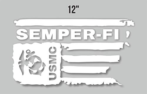 Kramer sticker's shop Distressed USMC United States Marine Corps Flag Semper-FI Vinyl Decal (Large White)