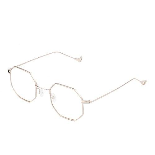 Cramilo Small Modern Geometric Hexagonal Metal Frames Colored Flat Lens - Hexagon Glasses Clear