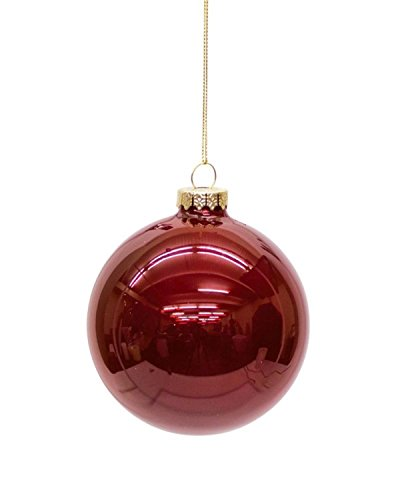 Diva At Home Club Pack of 12 Shiny Ruby Red Glass Christmas Ball Ornaments 4