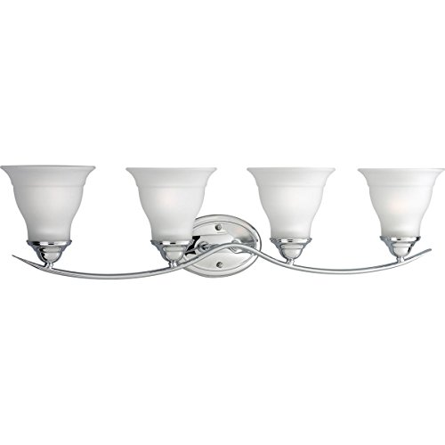 Polished Chrome Traditional Wall (Progress Lighting P3193-15 4-Light Bath Bracket, Polished Chrome)