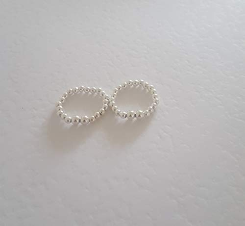 Sterling Silver daisy stretch Ball Bead Ring, Sterling Silver Stretch round beaded Finger Ring, Toe Ring, Stacking ring, boho - Daisy Ring Stretch