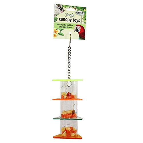 Exotic Nutrition Triple Treat Tower - Fun & Unique Forage Toy for Sugar Gliders, Rats, Ferrets, Squirrels, Parrots, Birds, Marmosets, Opossums and Other Small Animals