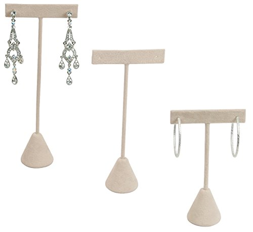 "888 Display USA - 3 Beige Faux Suede Earring T Stand Showcase Displays (4.75"" (3 Pack), Beige Faux Suede)"