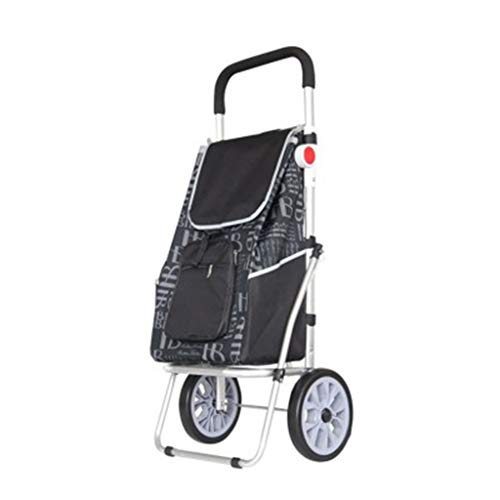 Climbing Shopping Cart Aluminum Shopping Cart Small Cart Trolley Folding Trolley Car Home Portable (Color : Black)