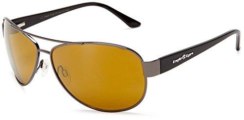Eagle Eyes Magellan Aviator Sunglasses - Shiny Black Frame Polarized (Eagles Black Frame Sunglasses)