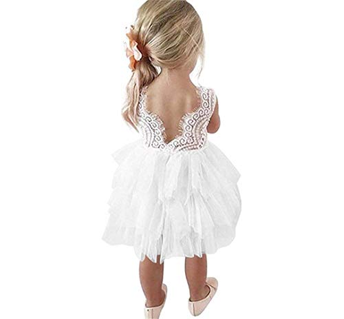 YOUNGER TREE Toddler Kids Baby Girls Dress Sleeveless Sequins Bow-Knot Party Wedding Prom Princess Lace Tutu Tulle Outfits (White, 18-24 Months) ()