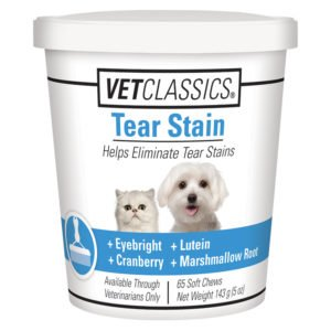 Vet Classics Tear Stain for Dogs & Cats, Helps Eliminate Tear Stains from Eyes & Prevents New Stains with Cranberry, Lutein, Eyebright, & Oregon Grape Root, 65 Soft Chews