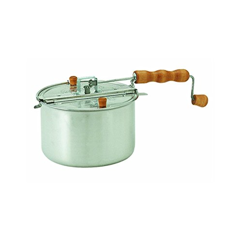Wabash Valley Farms - Stovetop Popcorn Popper - Whirly Pop with Popping Kit - Silver - Perfect Popcorn in 3 (Comfort Top Kit)