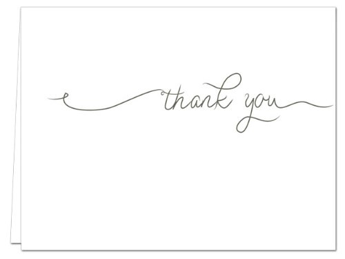 72 Thank You Cards - Simple Thank You - Blank Cards - Gray Envelopes Included