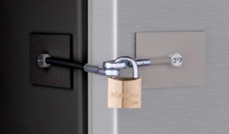 Threatening & Gray (Two Tone) Refrigerator Lock with Padlock