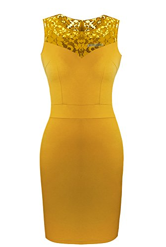 Heloise Women's Sleeveless Bodycon Little Mustard Cocktail Party Dress With Lace Top (L, Mustard)