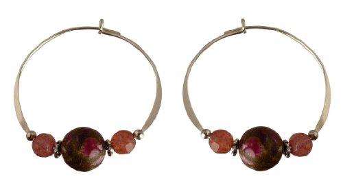 Bali Sky Large Sterling Silver Rose Bead Hoop Earrings SHL013 ()
