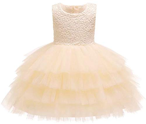Jup'Elle Baby Girl Dresses Extra Soft Crochet Lace Ruffles Pageant Wedding Party Flower Girl Beige Champagne Dresses 6-9months