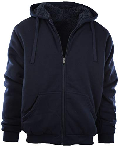 Mens Full Zipper Fleece Basic Hoodie with Lining to Choose from (S, 91008-NAVY) ()