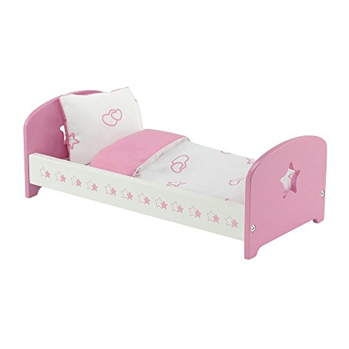 (14 Inch Doll Furniture | Lovely Pink and White Single Bed with Beautiful Star Motif, Includes Plush Reversible Bedding | Fits American Girl Wellie Wisher Dolls)
