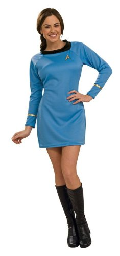 Deluxe Classic Star Strek Dress Uniform Adult Costume Blue - (Star Trek Classic Dress)