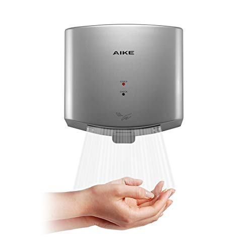 AIKE AK2630-K Compact Automatic High Speed Hand Dryer Commercial and Household,ABS Cover 1400W(Silver)