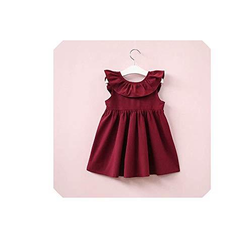 Girls Dress Toddler Baby Girl Princess Ruffles Pageant Tutu Dresses Sleeveless Sundress,Wine Red,6T