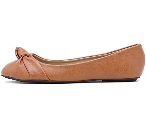Toe Albert Ballet Leather Round Women's Front Chestnut Charles Pu Loafer Knotted Flats ZRqdxw0