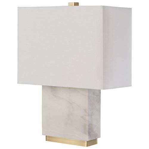 Faux Marble Glass Shades - Rivet Mid-Century Modern Rectangle Living Room Table Lamp With LED Light Bulb - 13.5 x 6.5 x 17 Inches, White Marble and Brass