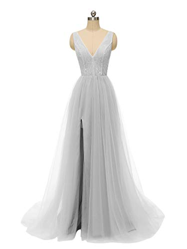 Gown Wedding Apparel (Prom Dresses Deep V Neck Tulle Lace Sex Split Dresses Long Prom Gown Evening Dress HFY290-Grey-US4)