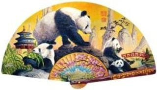 1000 Piece, Panda Elegance Jigsaw Puzzle in Beautiful Fan Shaped, 38.5