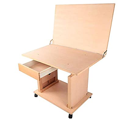 Jadpes Painting Table Display Table,Adjustable Height Wooden Artist Easel Sketch Painting Rack Drawing Table Art Sketching Table Art Still Life for Oil Painting Watercolor Gouache