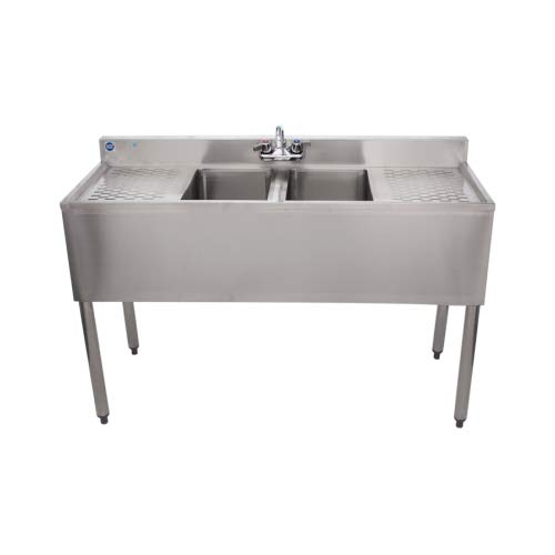 Stainless Steel Commercial Two Compartment Under Bar Sink 19 x 48 with Left and Right Drainboard