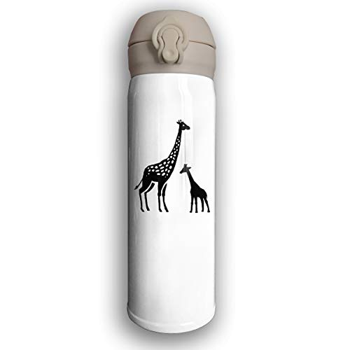 (Thermoses Stainless Steel Coffee Mug Giraffe Travel Mugs for Home Office School Works Car Great for Hot and Cold Drink Free Flip Cap Double Wall - White)