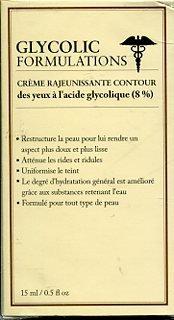 Glycolic Formulations Rejuvenating Eye Cream with 8% Glycolic Acid (Cream Glycolic Eye Acid)
