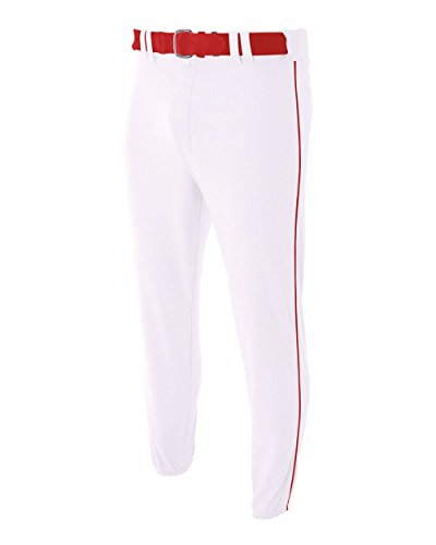 (A4 Sportswear Adult XL White with Red Side Piping Baseball/Softball Pants Pro Style Elastic Bottom with Side Color Piping)