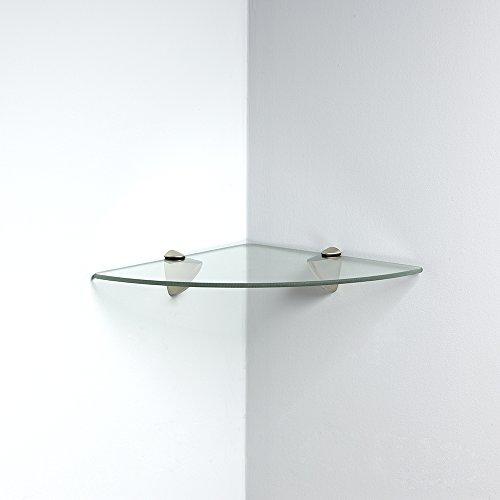 Knape & Vogt John Sterling Shelf-Made KT-0134-1212SN Glass Corner Shelf Kit, Satin Nickel, 12-Inch 12-Inch by Knape & Vogt (Image #1)